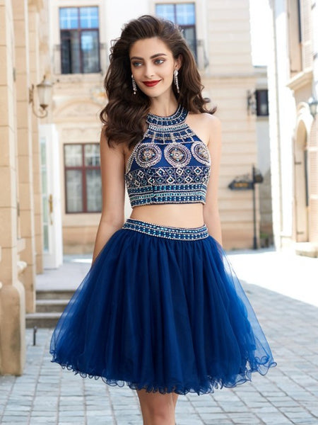 two pieces homecoming dress, short homecoming dress, royal blue homecoming dress, beaded homecoming dress, cheap homecoming dress, BD3790