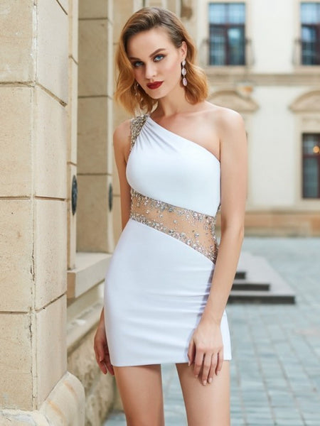 white homecoming dress, short prom dress, sheath homecoming dress, cheap homecoming dress, one shoulder homecoming dress, BD39003