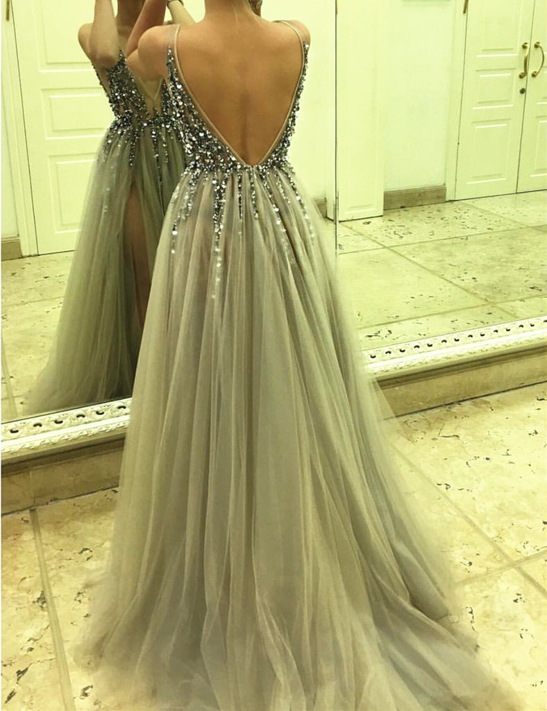 23bf7f8b5a ... 2017 v-neck backless grey tulle sparkle beaded long prom dress