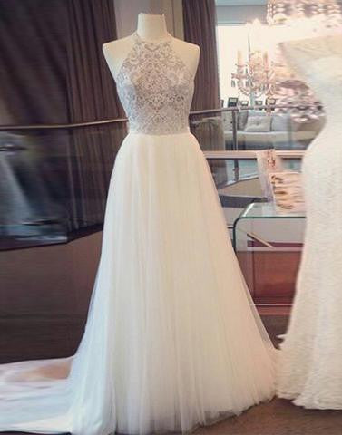 white long tulle beaded prom dress, halter evening dress, PD7269
