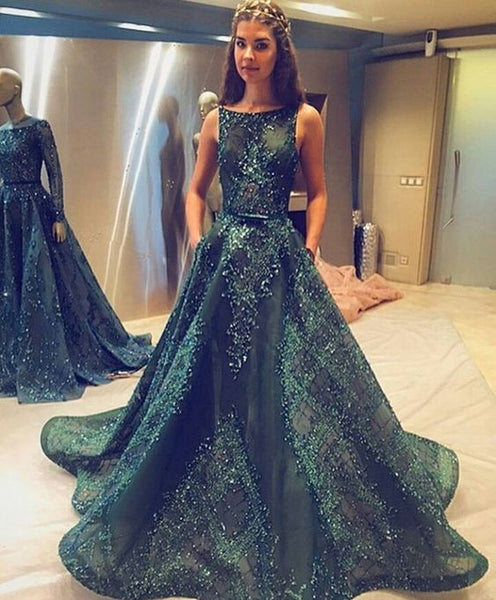 New arrive A-line green lace long princess prom dress, PD0843