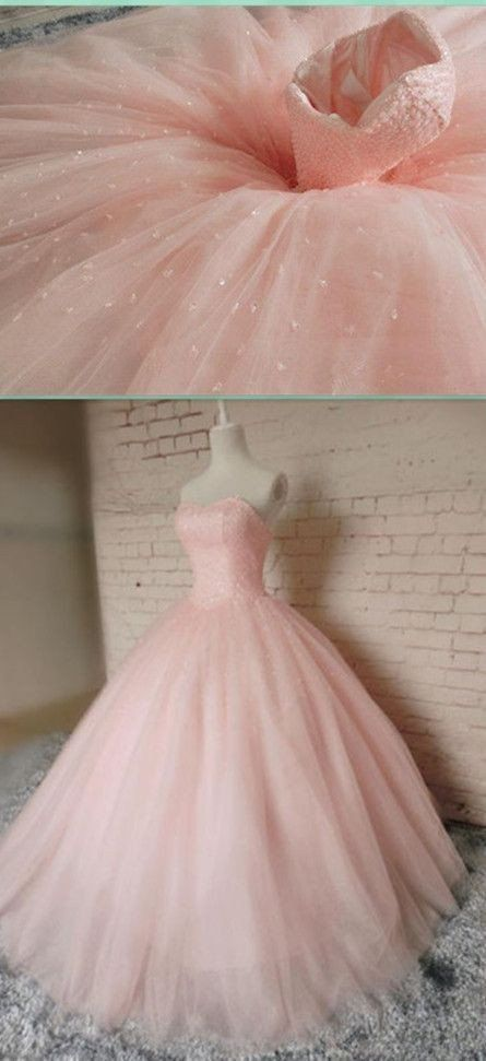 A-line blush pink long strapless tulle princess prom dress, BD7656
