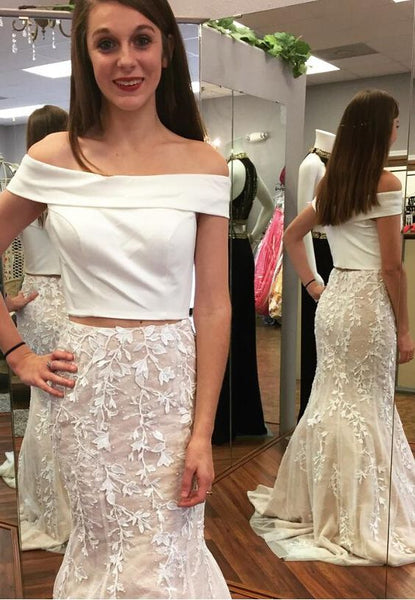 off shoulder white mermaid two pieces lace skirt prom dress, PD549