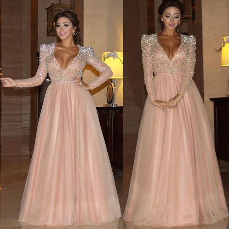 dusty pink v-neck A-line long sleeves beaded long prom dress, PD6522