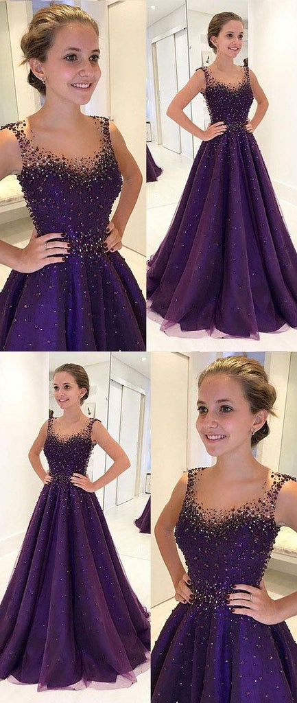 Dark Purple A Line Beaded Long Prom Dress For Girls Bsbridal
