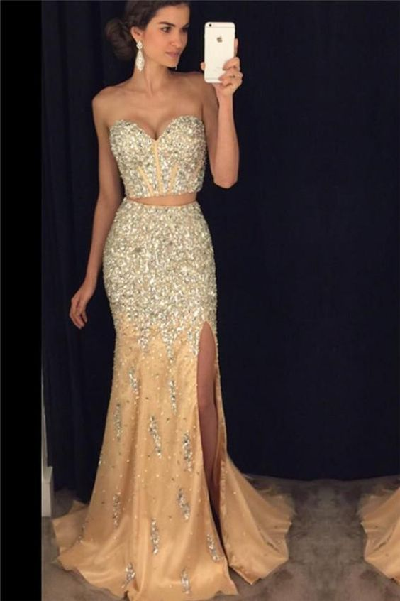 two pieces beaded mermaid sweetheart long side slit prom dress, PD65616