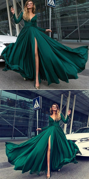 dark green v-neck long sleeves side slit long prom dress, PD7441