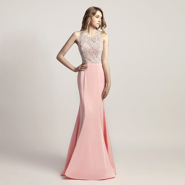 Luxurious Beaded Long Prom Dresses Pearls Evening Dresses Mermaid Sleeveless Formal Dresses
