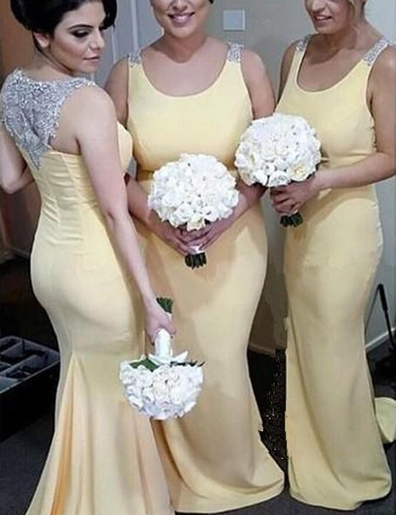 Light Yellow Bridesmaid Dress, Sweep Train Bridesmaid Dress,Mermaid Bridesmaid Dress, Beading Bridesmaid Dress, Sexy Bridesmaid Dress, PD07
