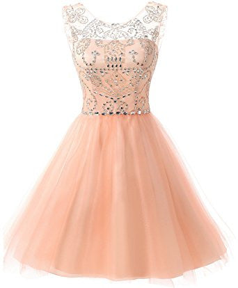 peach tulle beaded A-line cheap junior homecoming dress 2017, BD3699