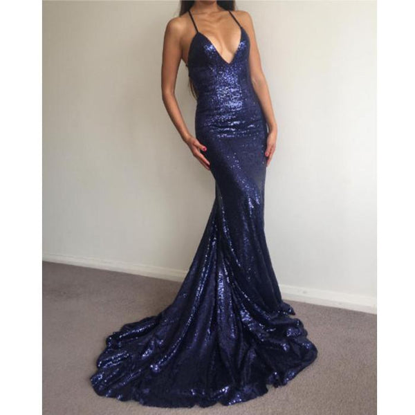 formal mermaid sparkle navy sequin long prom dress, BD4455