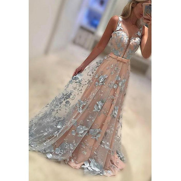 charming v-neck lace appliques long prom dress, PD9741