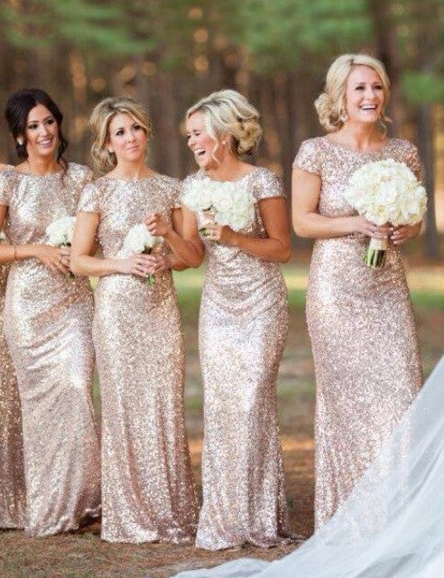 Fashion bridesmaid dress,Scoop bridesmaid dress, Sequin bridesmaid dress ,Floor-length Bridesmaid dress,PD77