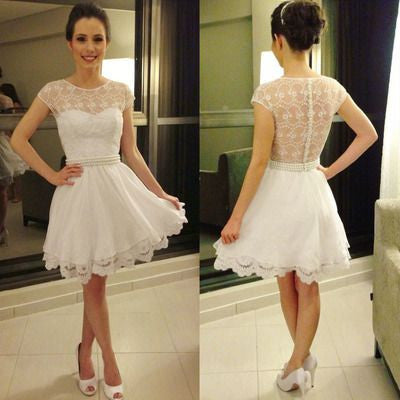 cap sleeves cheap short lace homecoming dress for girls, BD39765