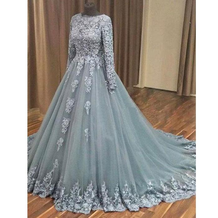 modest dusty blue long sleeves A-line lace prom dress, PD9747