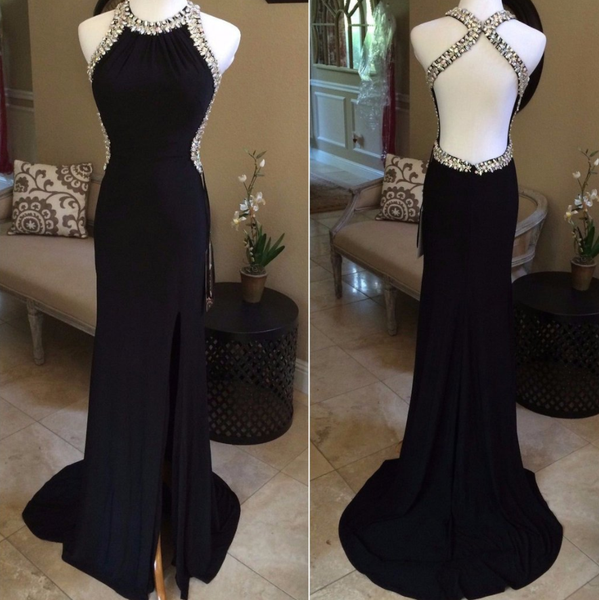side slit beaded black backless halter formal charming 2017 long prom dress, PD9776