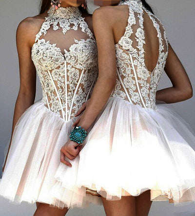 charming lovely high neck lace A-line homecoming dress short prom dress, HD3997