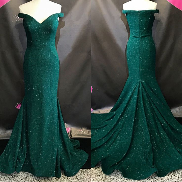 formal dark green off shoulder mermaid long prom dress, PD8875