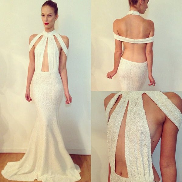 formal halter backless white sparkle long prom dress, PD56598