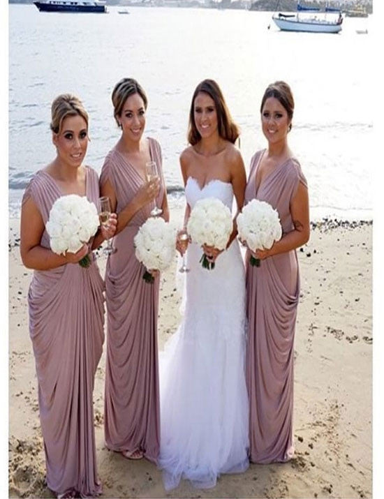 Elegant bridesmaid dress,V-neck bridesmaid dress,Ruffles bridesmaid dress ,Simple Bridesmaid dress ,PD80