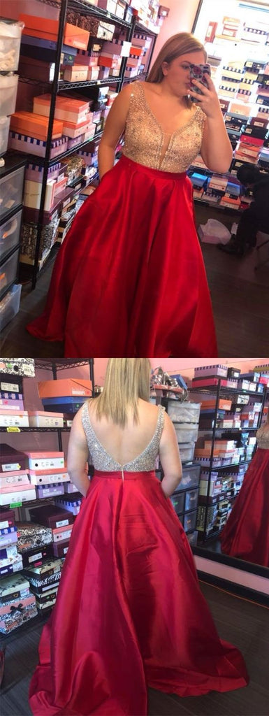 plus size red beaded top long prom dress, PD5896