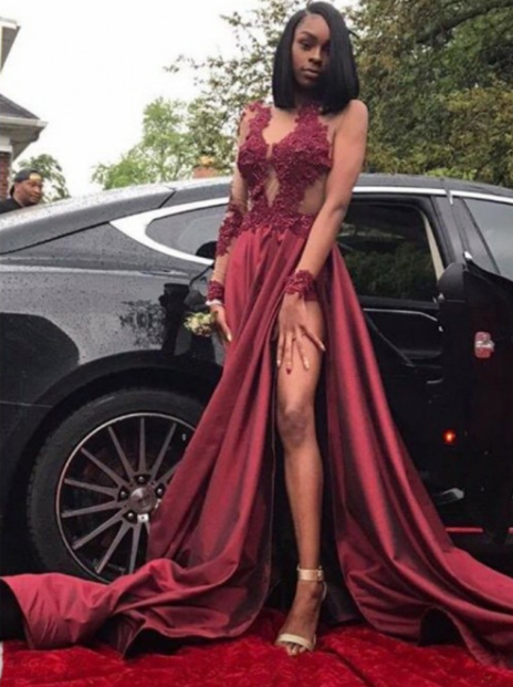 sexy burgundy long sleeves formal long prom dress with side slit, PD02503