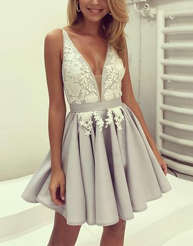 A-line light grey v-neck short lace homecoming dress, HD966