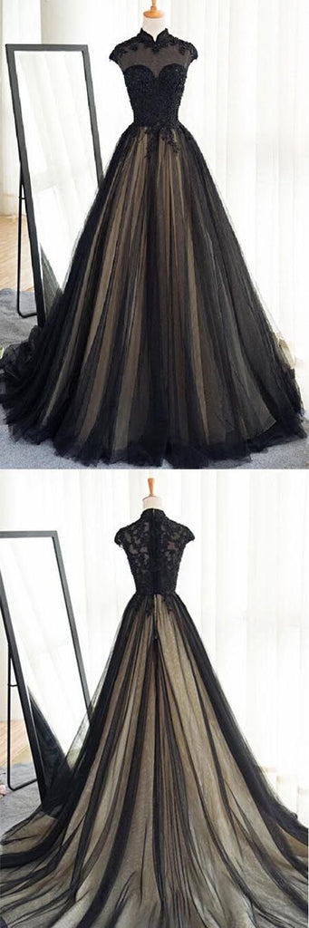 Cap sleeves high neck A-line long black prom dress, BD7658