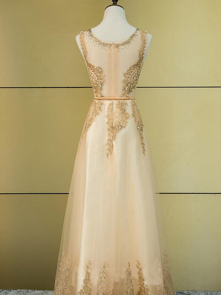 formal cheap champagne gold long prom dress, PD1799