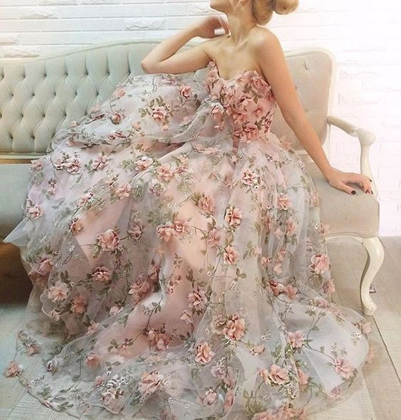 new arrive charming flower appliques long prom dress strapless evening dress 2018, BD1627