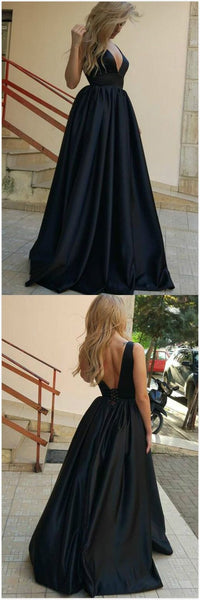 formal black v-neck long satin prom dress, BD4529