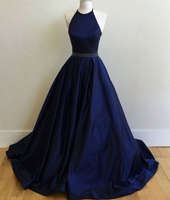 dark blue prom dress, long prom dress, A-line prom dress, halter evening dress, cheap prom dress, BD378