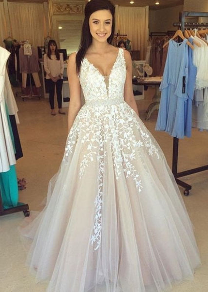 A-line prom dress, lace applique prom dress, charming prom gown, princess prom dress, evening gown 2017, BD144