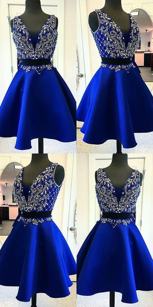 two pieces v-neck royal blue beaded homecoming dress, HD526