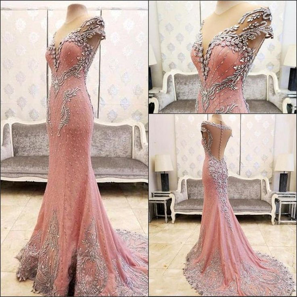 formal pink mermaid open back beaded long prom dress, PD6524