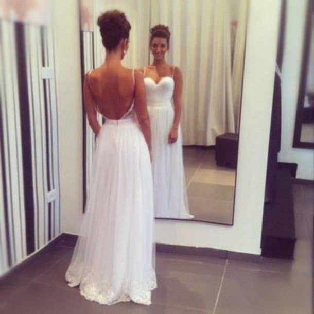 backless sweetheart spaghetti straps white long prom dress, PD56567