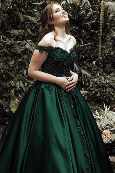 A-Line Ball Gown Off the Shoulder Evening Dresses Green Sleeveless Sweetheart Lace Satin Prom Dresses