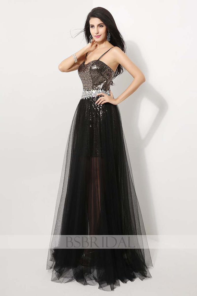 black sequin shinny formal long prom dress, AJ011