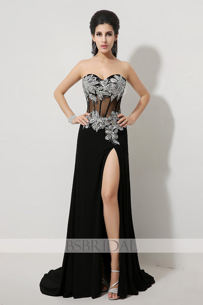 black chiffon sweetheart side slit long prom dress, AJ023