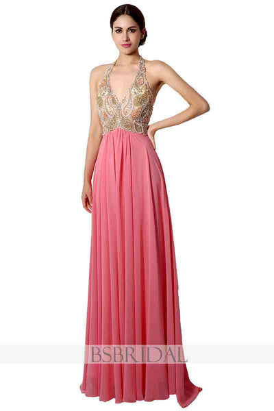 pink chiffon halter beaded top long prom dress, AJ031