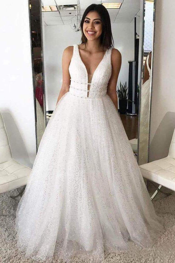 A Line Deep V Neck Ball Gown Prom Dresses Open Back White Evening Dresses