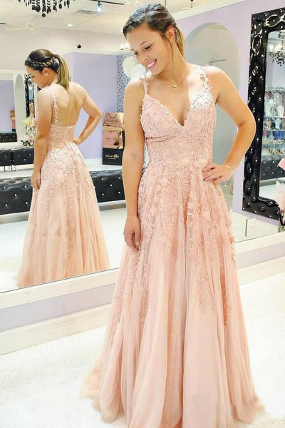 A Line Spaghetti Straps Prom Dresses V Neck Lace Appliques Evening Dress,