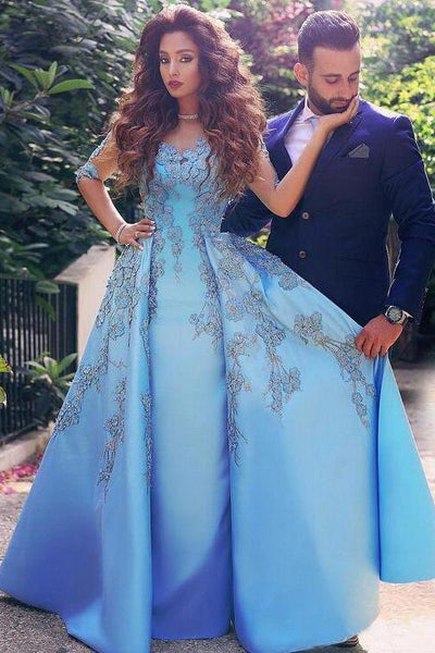 A line Blue Half Sleeve Satin Beads Prom Dresses Sweetheart Lace Appliques Formal Dress
