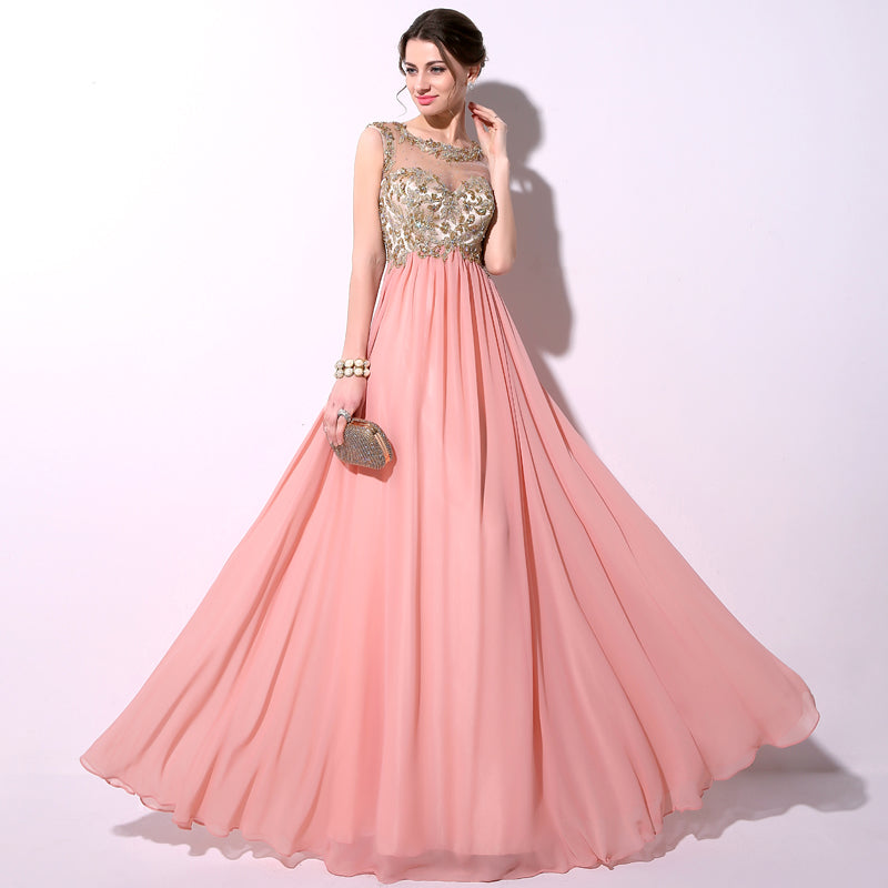 Applique Beaded Long Prom Dresses Cheap Chiffon Evening Dresses A-Line Formal Dresses