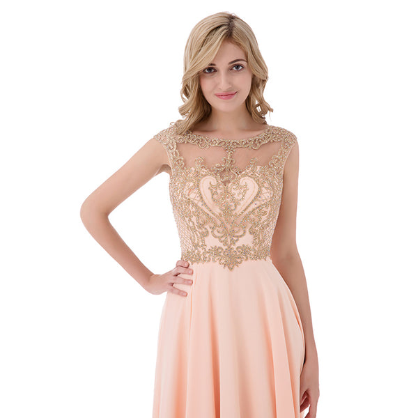 Applique Beaded Long Prom Dresses Dusty Pink Chiffon Evening Dresses A-Line Formal Dresses