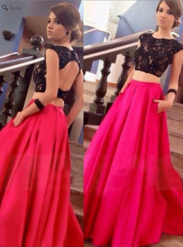 two pieces prom dress, long prom dress, open back prom dress, 2017 prom dress, A-line evening dress, BD522