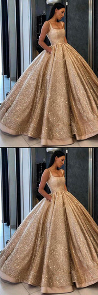 Ball Gown Prom Dress with Pockets Beads Sequins Evening Dresses Floor-Length Gold Quinceanera Dresses