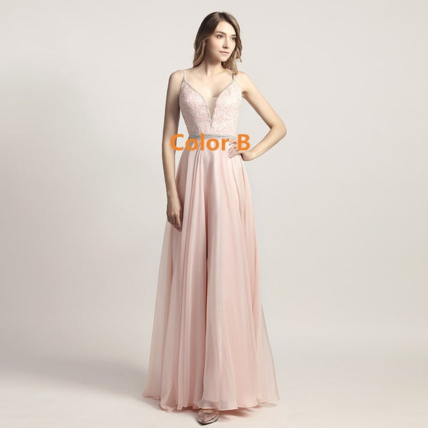 Beaded Chiffon Long Prom Dresses V-Neck A-Line Evening Dresses Backless Spaghetti Straps Formal Dresses