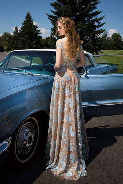 Charming Cap Sleeve Blue Lace Open Back A-Line Tulle Scoop Floor-Length Prom Dresses