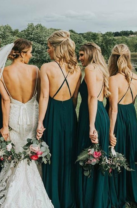 Cheap Chiffon Long Bridesmaid Dresses Green A-Line Bridesmaid Dresses Spaghetti Straps Backless Bridesmaid Dresses